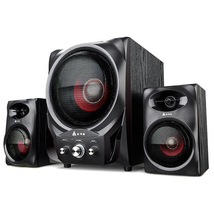 金河田F199战鼓音响低音炮 多媒体电脑音箱 台式木质2.1超大重音箱